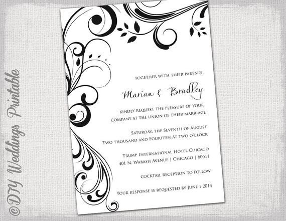 Ms Word Invitation Template Wedding Invitation Templates Black and White