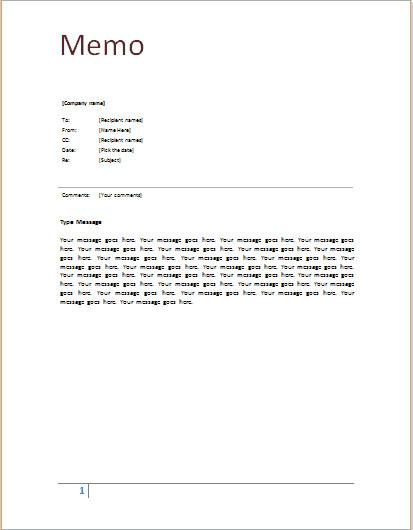 Ms Word Memo Templates 9 Memo Templates Word Excel Pdf formats