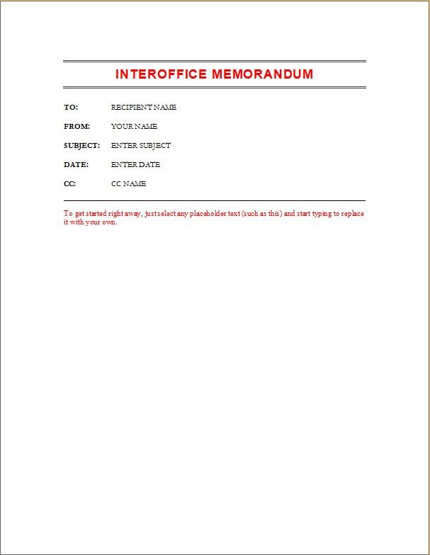 Ms Word Memo Templates Employee Memo Template