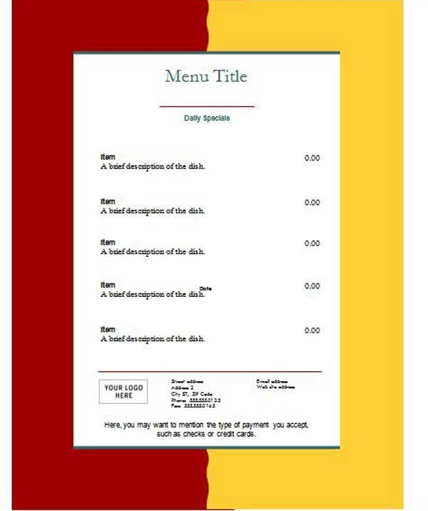 Ms Word Menu Templates Free Restaurant Menu Templates Microsoft Word Templates