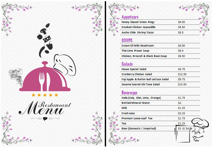 Ms Word Menu Templates Ms Word Restaurant Menu