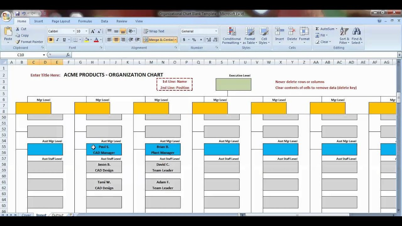 Ms Word org Chart Templates Excel organization Chart Template Demonstration