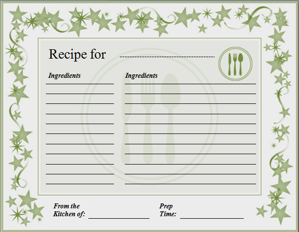 Ms Word Recipe Template Ms Word Recipe Card Template