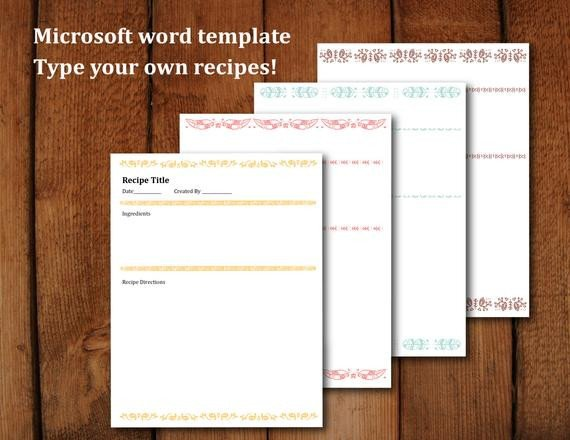 Ms Word Recipe Template Printable Recipe Pages Microsoft Word Editable Letter Size