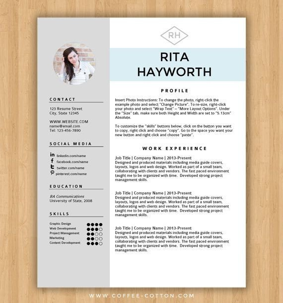 Ms Word Resume Template Download Instant Download Resume Template & Cover Letter Editable