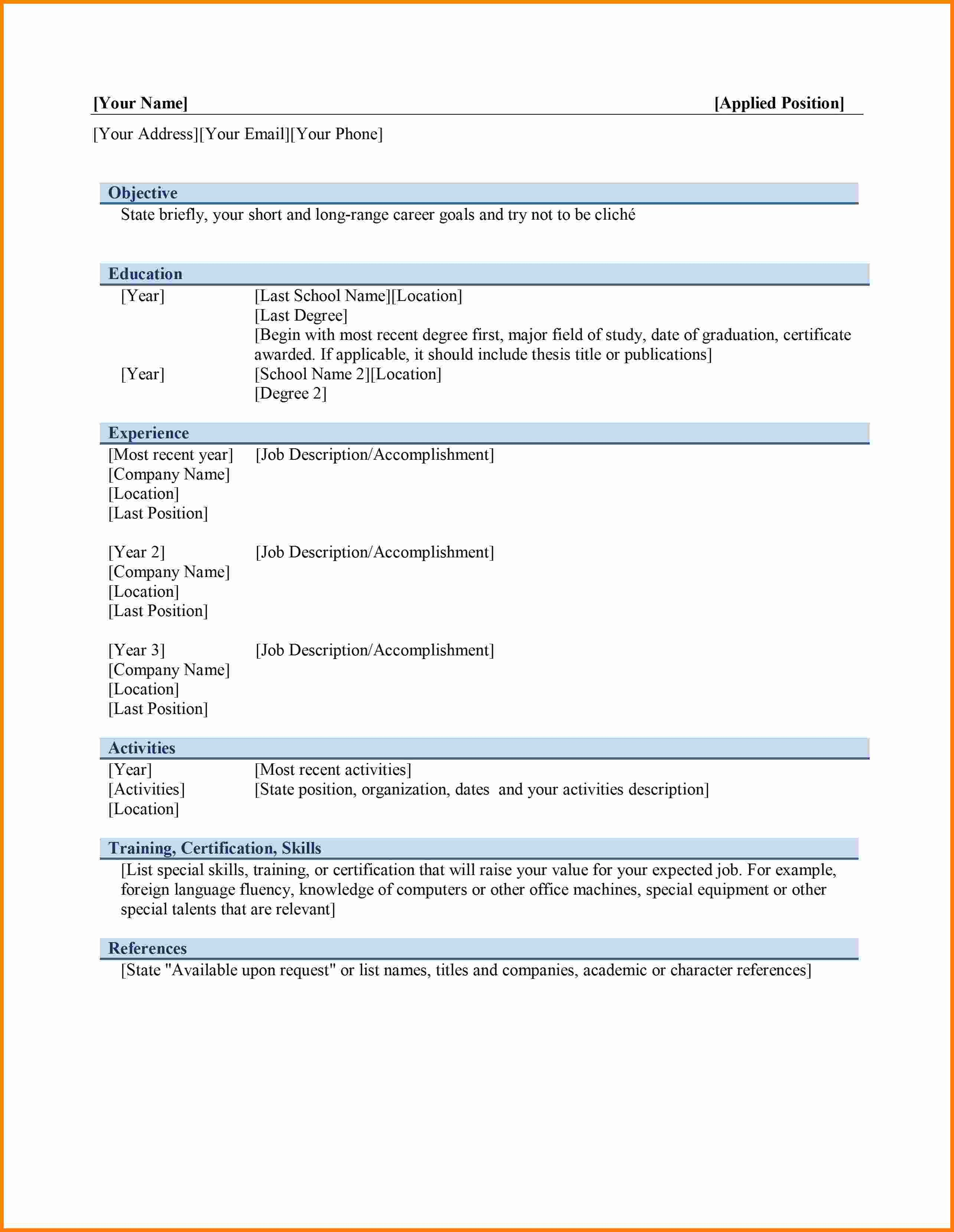 Ms Word Template Free Download 6 Curriculum Vitae In Ms Word