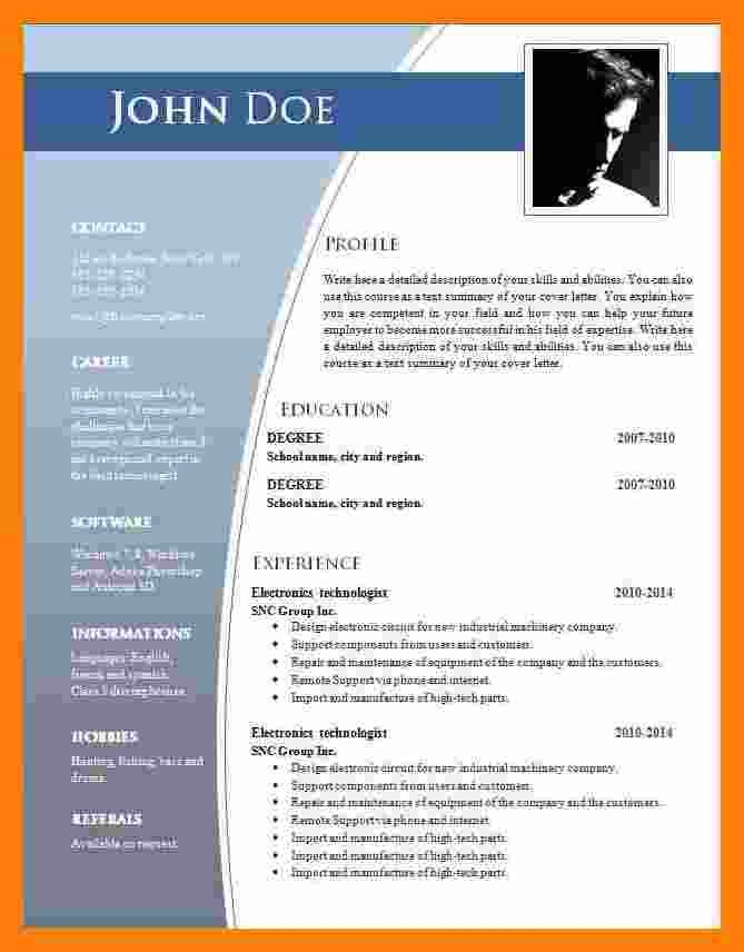 Ms Word Template Free Download 9 Cv format Ms Word 2007