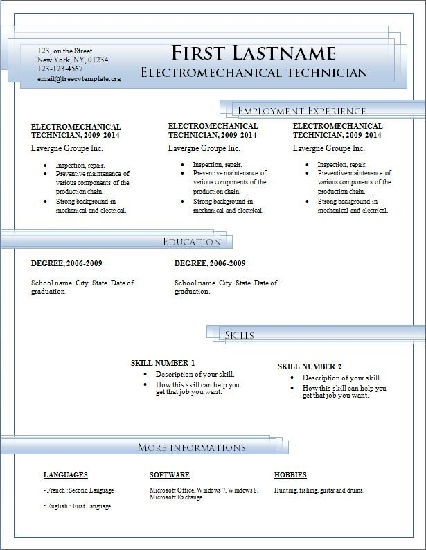 Ms Word Template Free Download Resume Templates Free Download for Microsoft Word