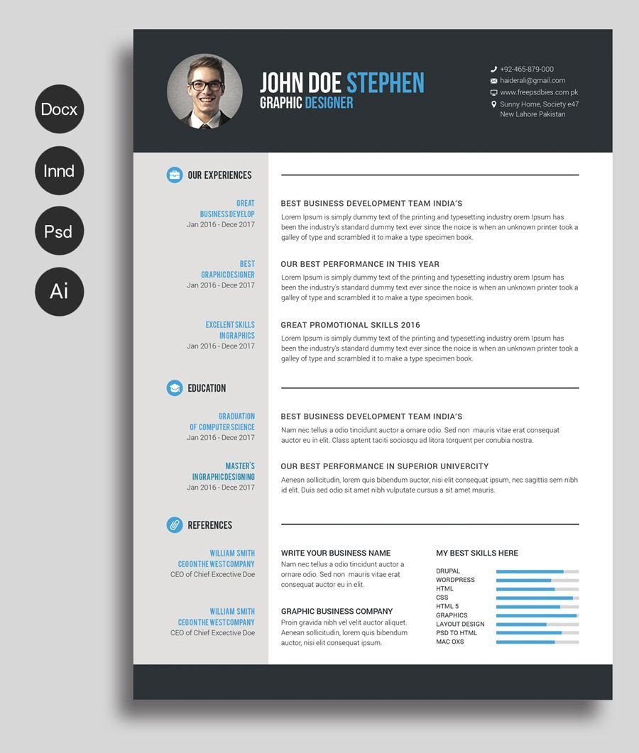 Ms Word Templates Resume Free Ms Word Resume and Cv Template