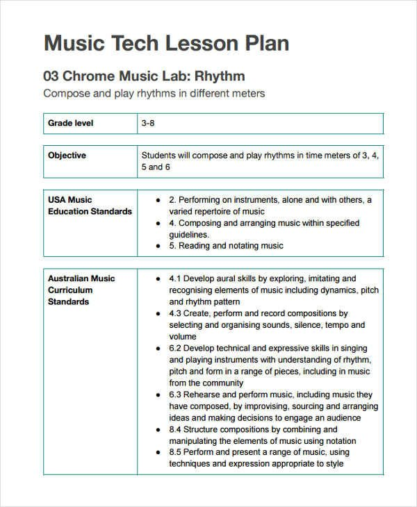 Music Lesson Plan Template 12 Lesson Plan formats