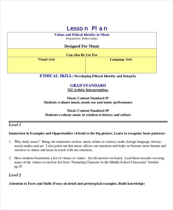 Music Lesson Plan Template 47 Lesson Plan Samples