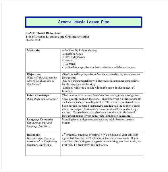 Music Lesson Plan Template 59 Lesson Plan Templates Pdf Doc Excel