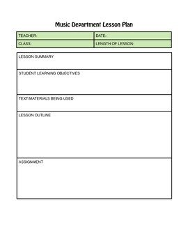Music Lesson Plan Template Hs Music Lesson Plan Template with Standards Check F Nys
