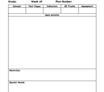 Music Lesson Plan Template Lesson Plan Template for General Music by Christopher