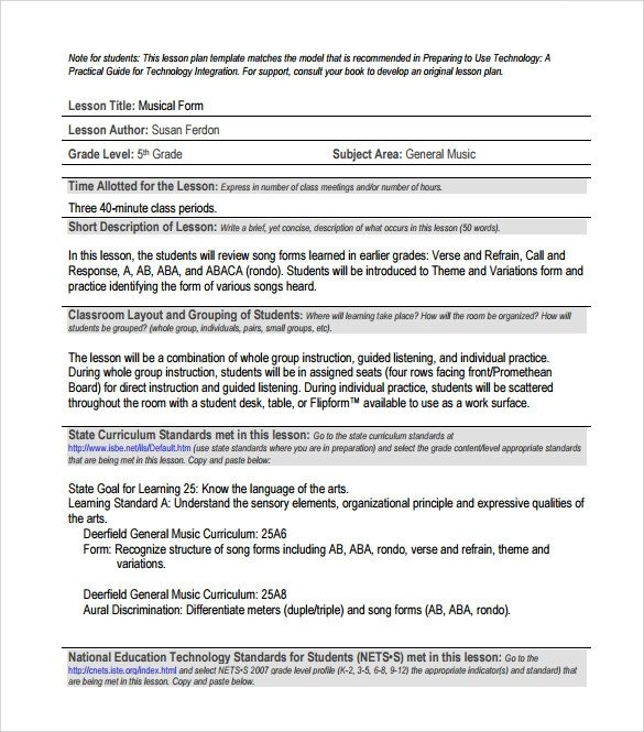 Music Lesson Plan Template Sample Music Lesson Plan 7 Documents In Pdf Psd