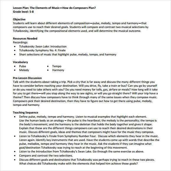Music Lesson Plan Template Sample Music Lesson Plan Template 9 Free Documents In