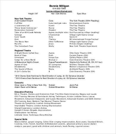 Musical theatre Resume Template 10 theatre Resume Templates Pdf Doc