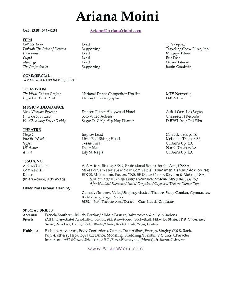 Musical theatre Resume Template 11 12 Sample Musical theatre Resume