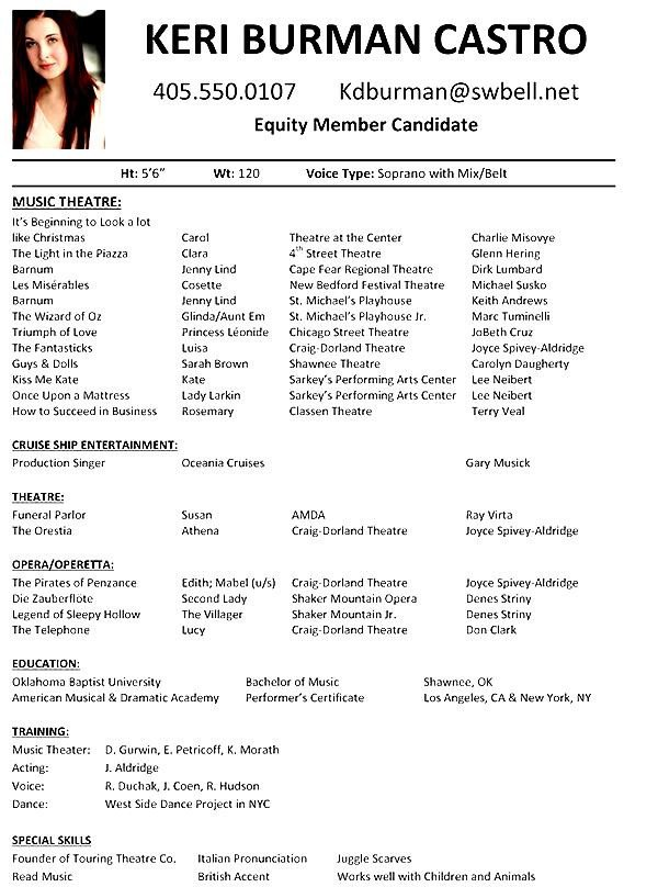 Musical theatre Resume Template Musical theatre Resume Examples