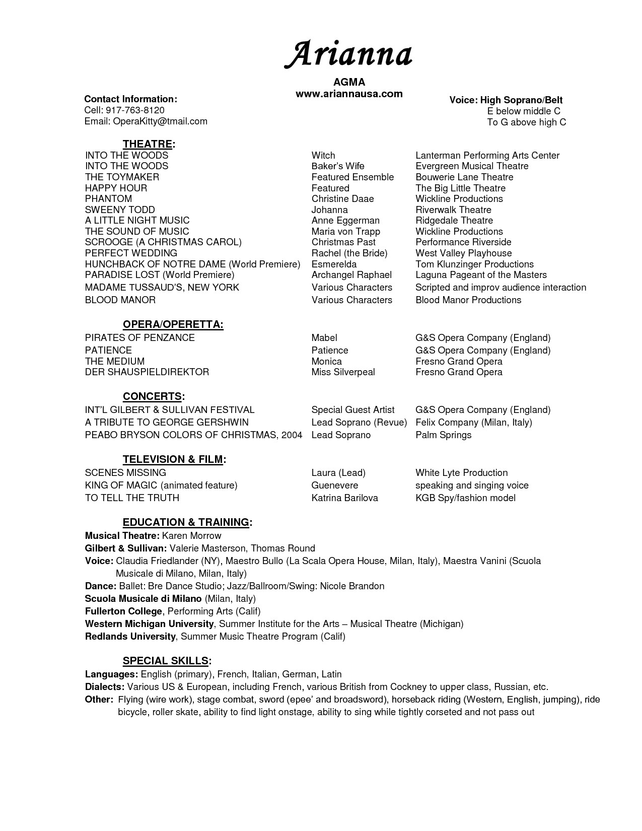 Musical theatre Resume Template Musical theatre Resume Resume Ideas