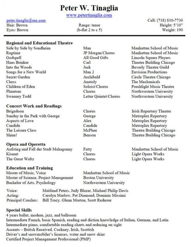Musical theatre Resume Template Musical theatre Resume Template