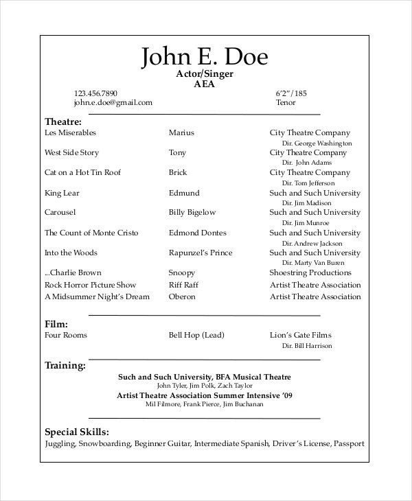Musical theatre Resume Template Musical theatre Resume Template the General format and