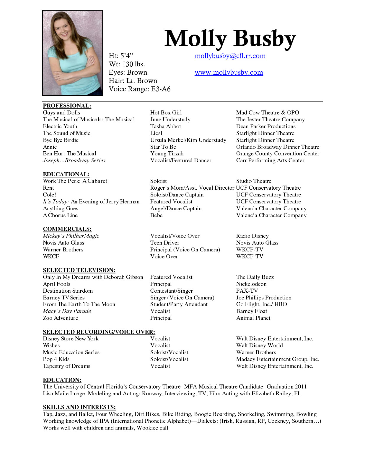 Musical theatre Resume Template Musician Resume Sample
