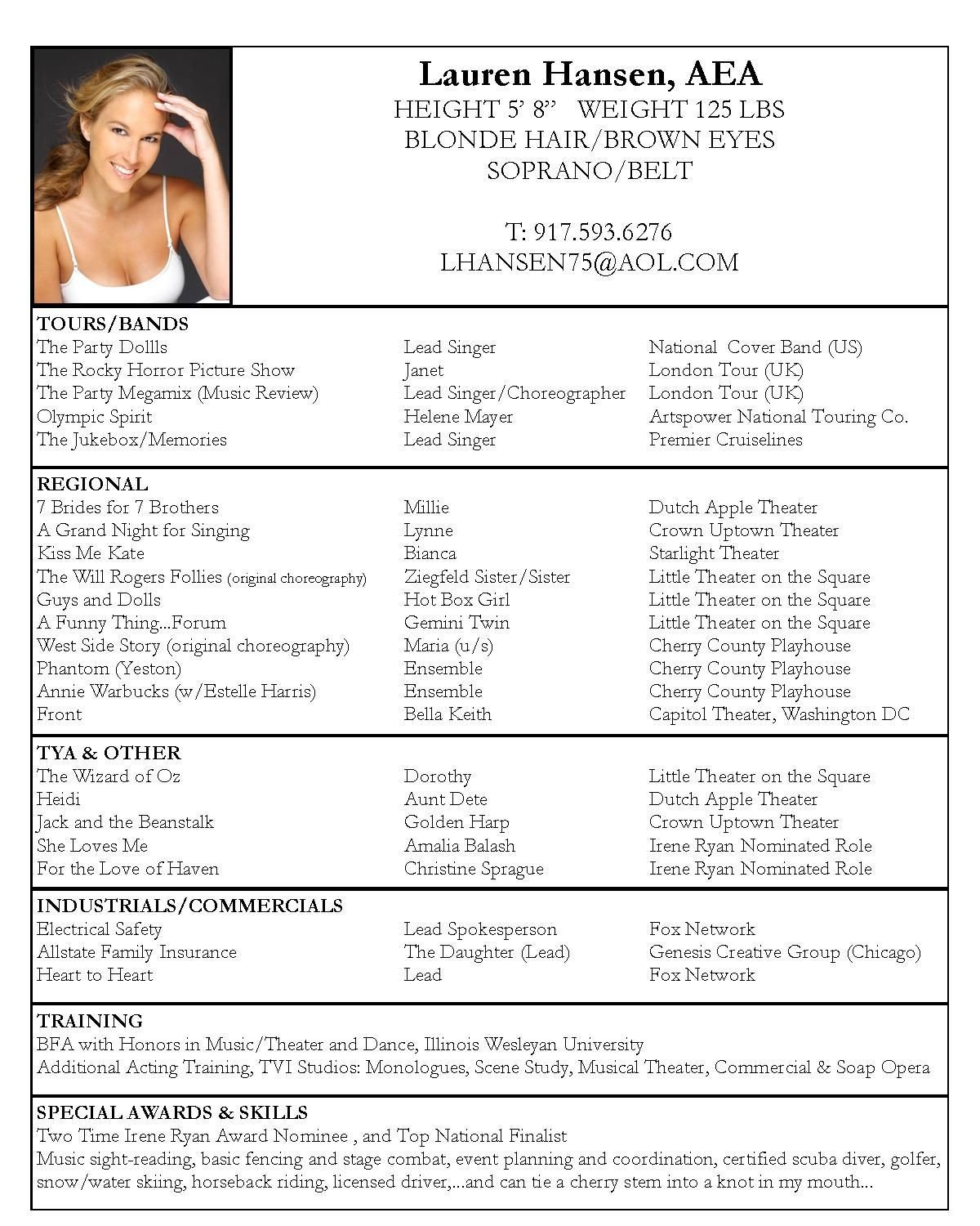 Musical theatre Resume Template Pin by Kaarin Pigford On Let S Put On A Show In 2019