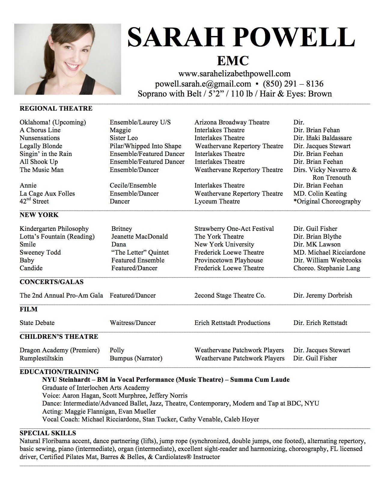 Musical theatre Resume Template theatre Resume Template