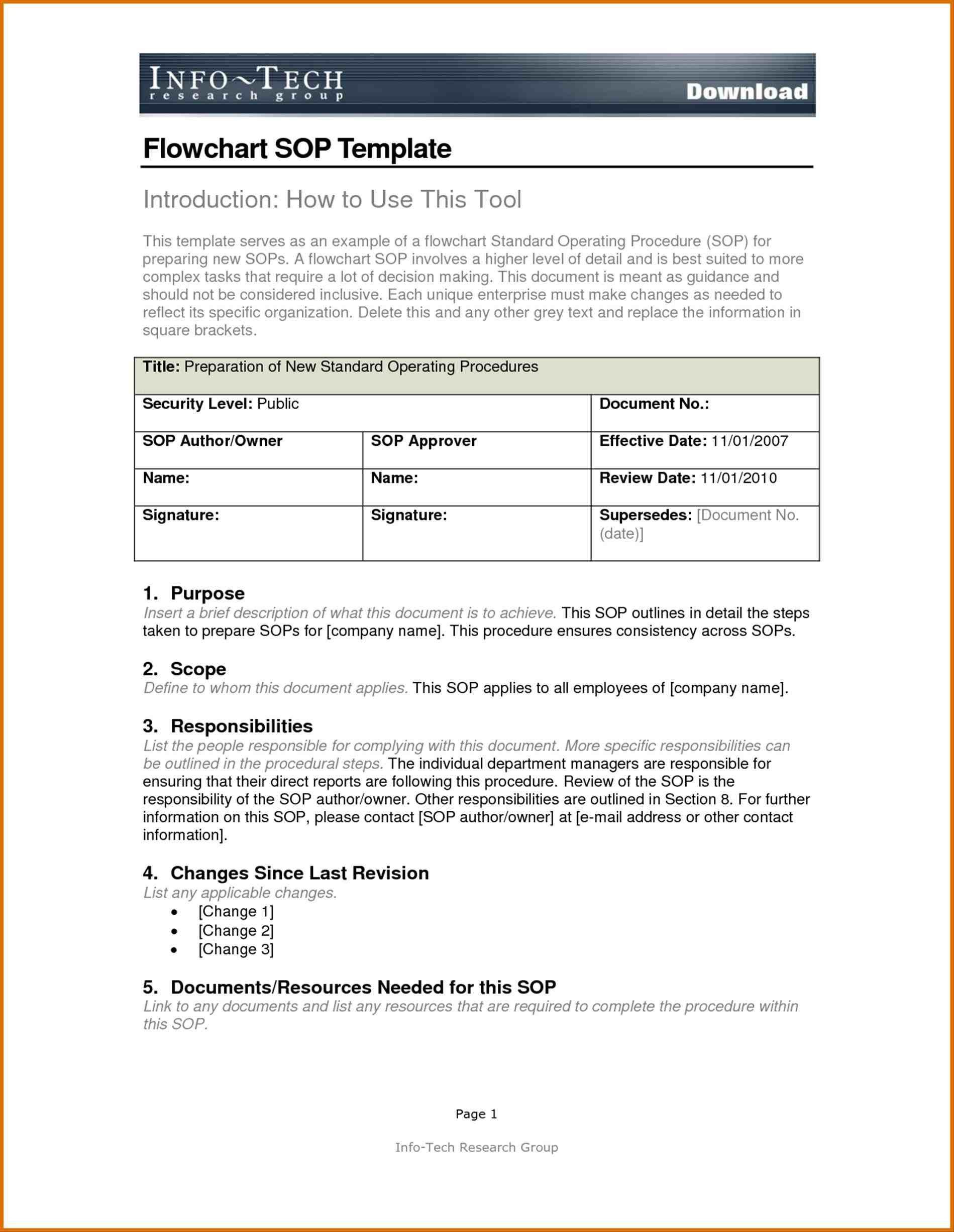 Navy sop format Standard Operating Procedure Template for Pany