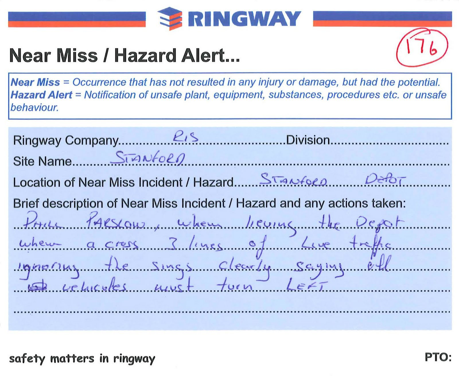 Near Miss Reporting Template Ringway Update Reporting Of Near Misses