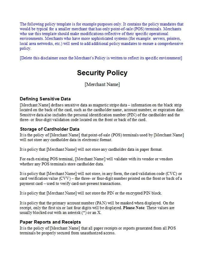 Network Security Policy Template 42 Information Security Policy Templates [cyber Security