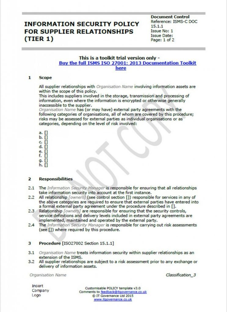 Network Security Policy Template Network Security Policy Statement Template