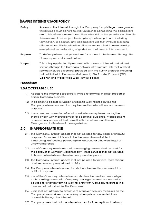 Network Security Policy Template Network Security Policy Template