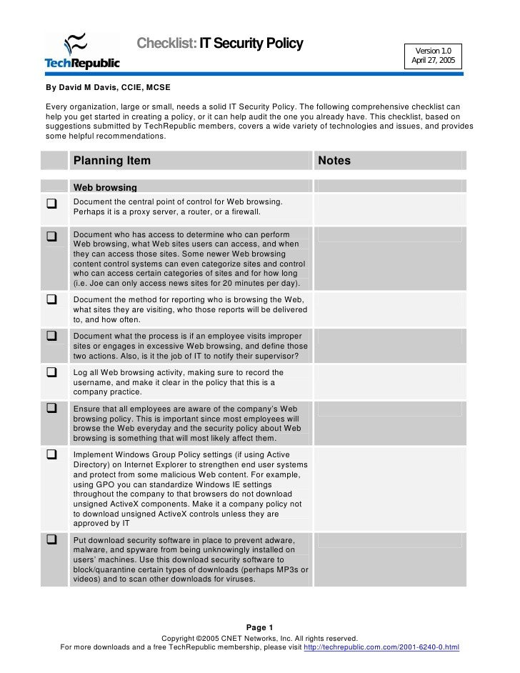 Network Security Policy Template Security Policy Checklist