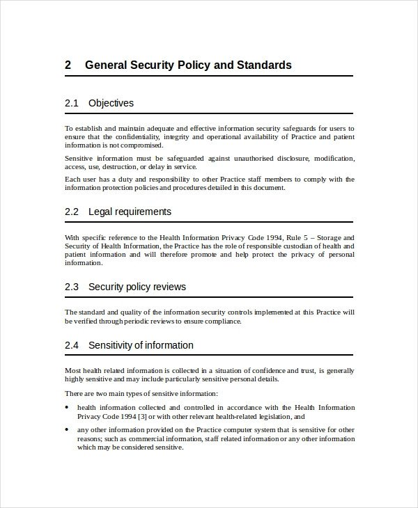 Network Security Policy Template Security Policy Template 7 Free Word Pdf Document