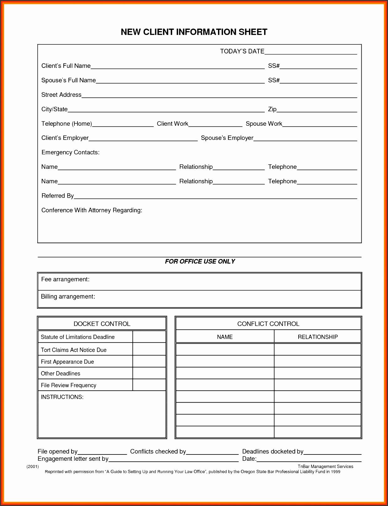 New Client form Template 5 Customer Information Sheet Template Sampletemplatess