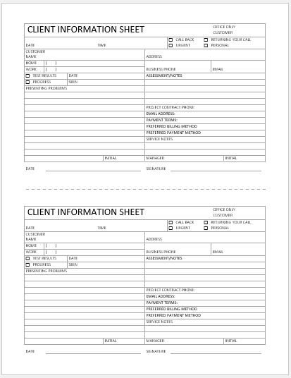 New Client form Template Business format Client Information Sheet