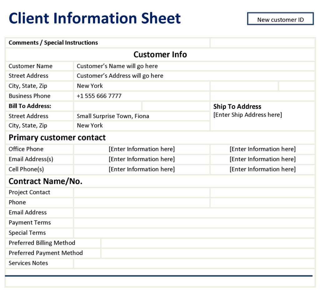 New Client form Template Client Information Sheet Template