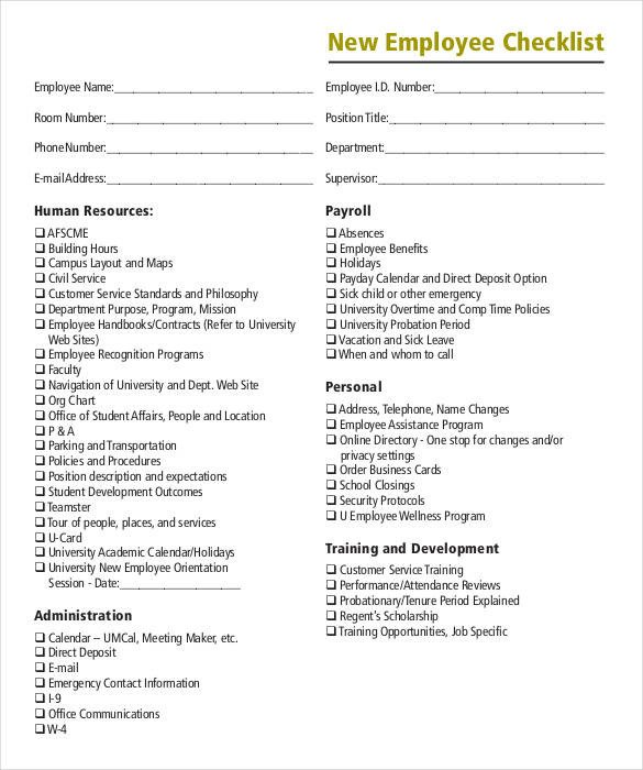 New Employee Checklist Template Excel 11 Boarding Checklist Samples and Templates Pdf Word