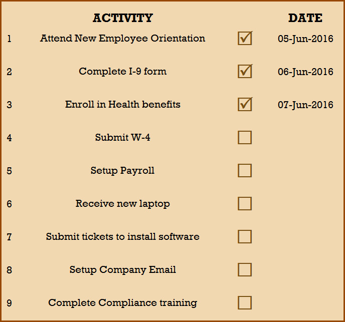 New Employee Checklist Template Excel Checklist for New Hire New Employee Checklist Excel