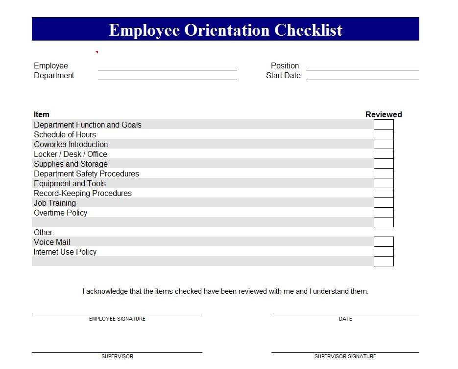 New Employee Checklist Template Excel Employee orientation Checklist