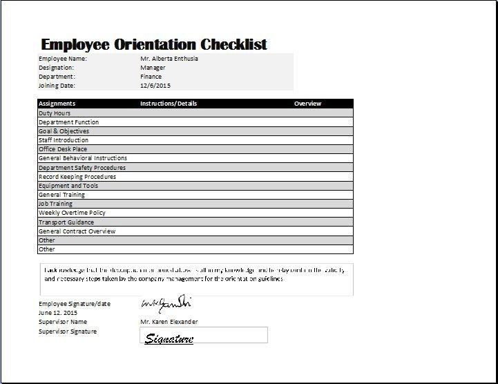 New Employee Checklist Template Excel Employee orientation Checklist Template