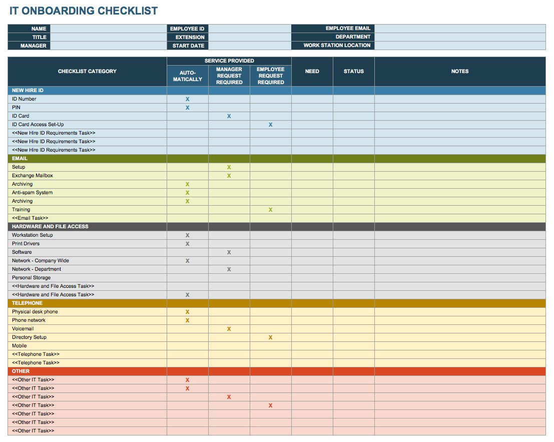 New Employee Checklist Template Excel Free Boarding Checklists and Templates