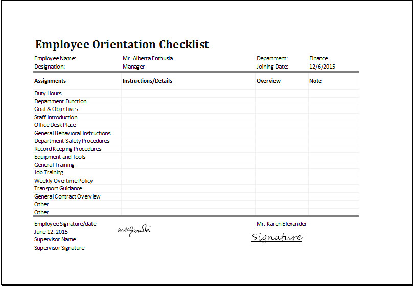 New Employee Checklist Template Excel Ms Excel Employee orientation Checklist Editable Template