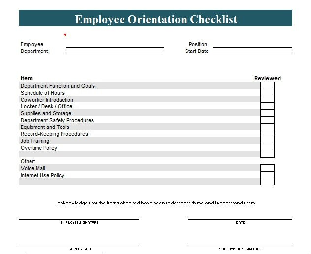 New Employee Checklist Template Excel New Employee orientation Checklist Template Excel and Word