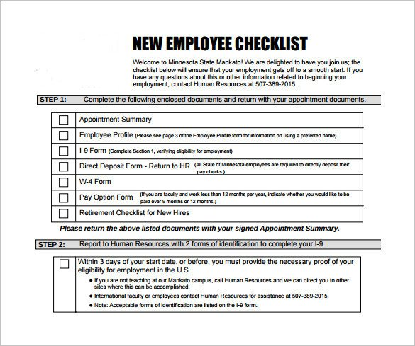 New Employee Checklist Template Excel New Hire Checklist Sample 16 Documents In Pdf