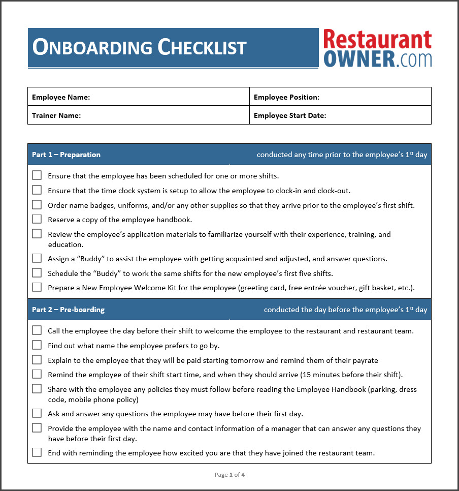New Employee Onboarding Checklist Template Employee Boarding Checklist