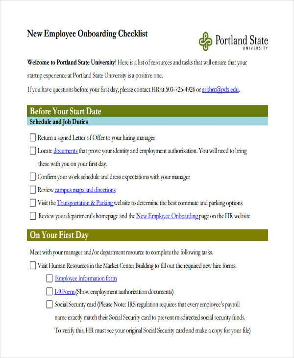 New Employee Onboarding Checklist Template Employee Checklist Template 15 Free Samples Examples