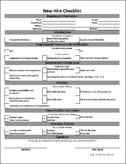 New Employee Onboarding Checklist Template Free Basic New Hire Checklist Work Planner
